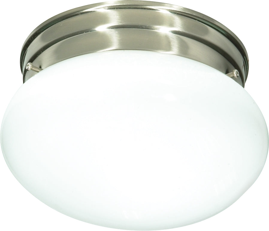 "1-Light 8"" Flush Mounted Outdoor Light Fixture in Brushed Nickel Finish"