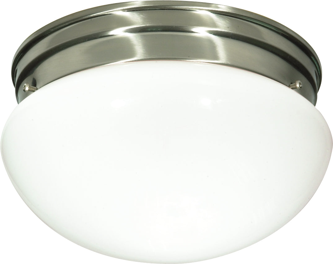 "2-Light 10"" Flush Mounted Close-to-Ceiling Light Fixture in Brushed Nickel"