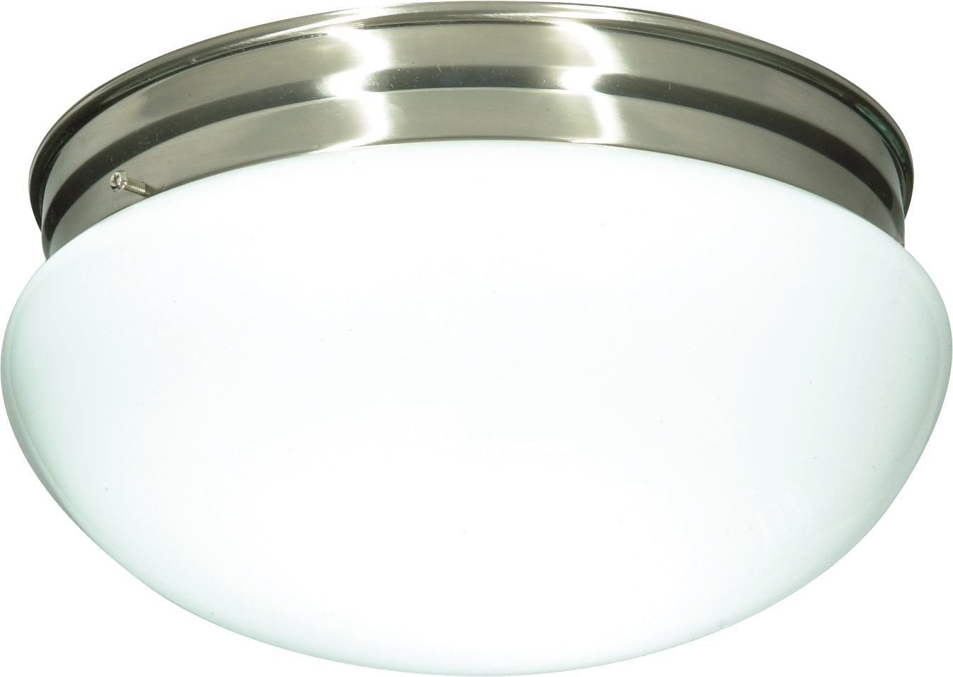 """2-Light 12"""" Flush Mounted Close-to-Ceiling Light Fixture in Brushed Nickel"""