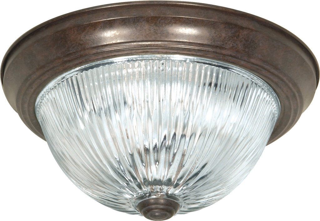 "Nuvo 3-Light 15"" Flush Mount w/ Clear Ribbed Glass in Old Bronze Finish"