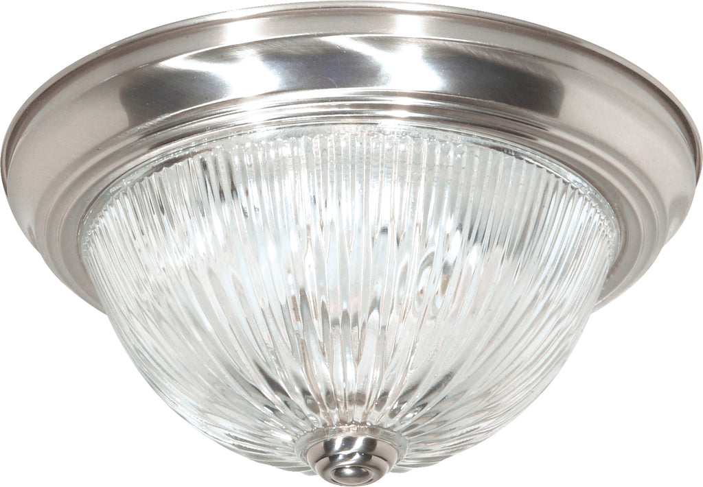 "Nuvo 2-Light 11"" Flush Mount w/ Clear Ribbed Glass in Brushed Nickel Finish"