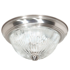 "Nuvo 2-Light 13"" Flush Mount w/ Clear Ribbed Glass in Brushed Nickel Finish"