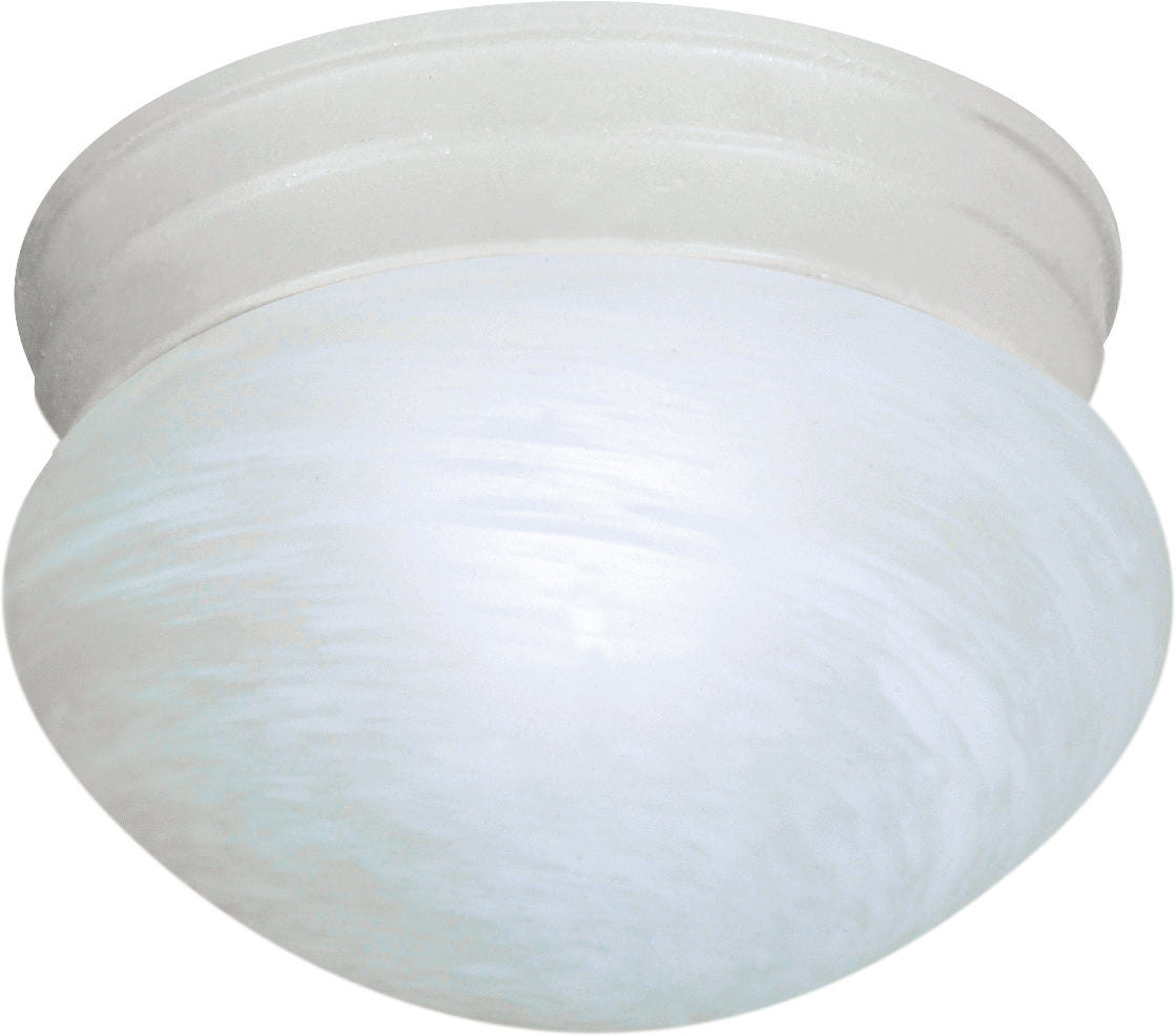 """1-Light 8"""" Flush Mounted Close-to-Ceiling Light Fixture in Textured White Finish"""