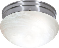 "2 Light - 10"" - Flush Mount - Medium Alabaster Mushroom"