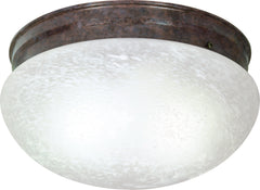 2-Light Flush Mounted Close-to-Ceiling Light Fixture in Old Bronze Finish