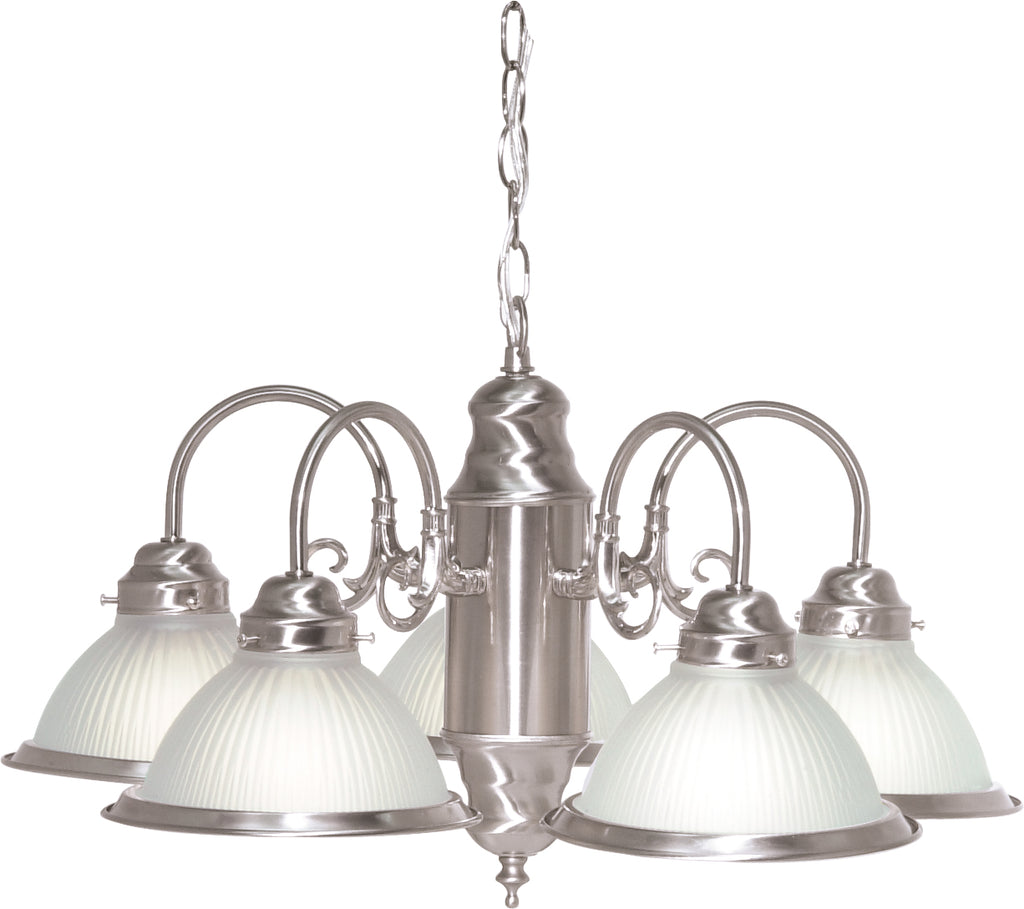 "Nuvo 5-Light 22"" Chandelier w/ Frosted Ribbed Shades in Brushed Nickel Finish"