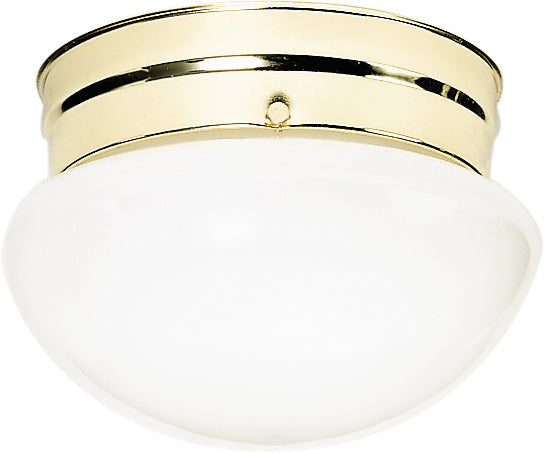 "Nuvo 2-Light 10"" Ceiling Light w/ White Mushroom Glass in Polished Brass"