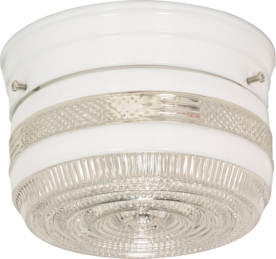 "Nuvo 1-Light 6"" Flush Mount Ceiling Light w/ Small Crystal and White Drum"