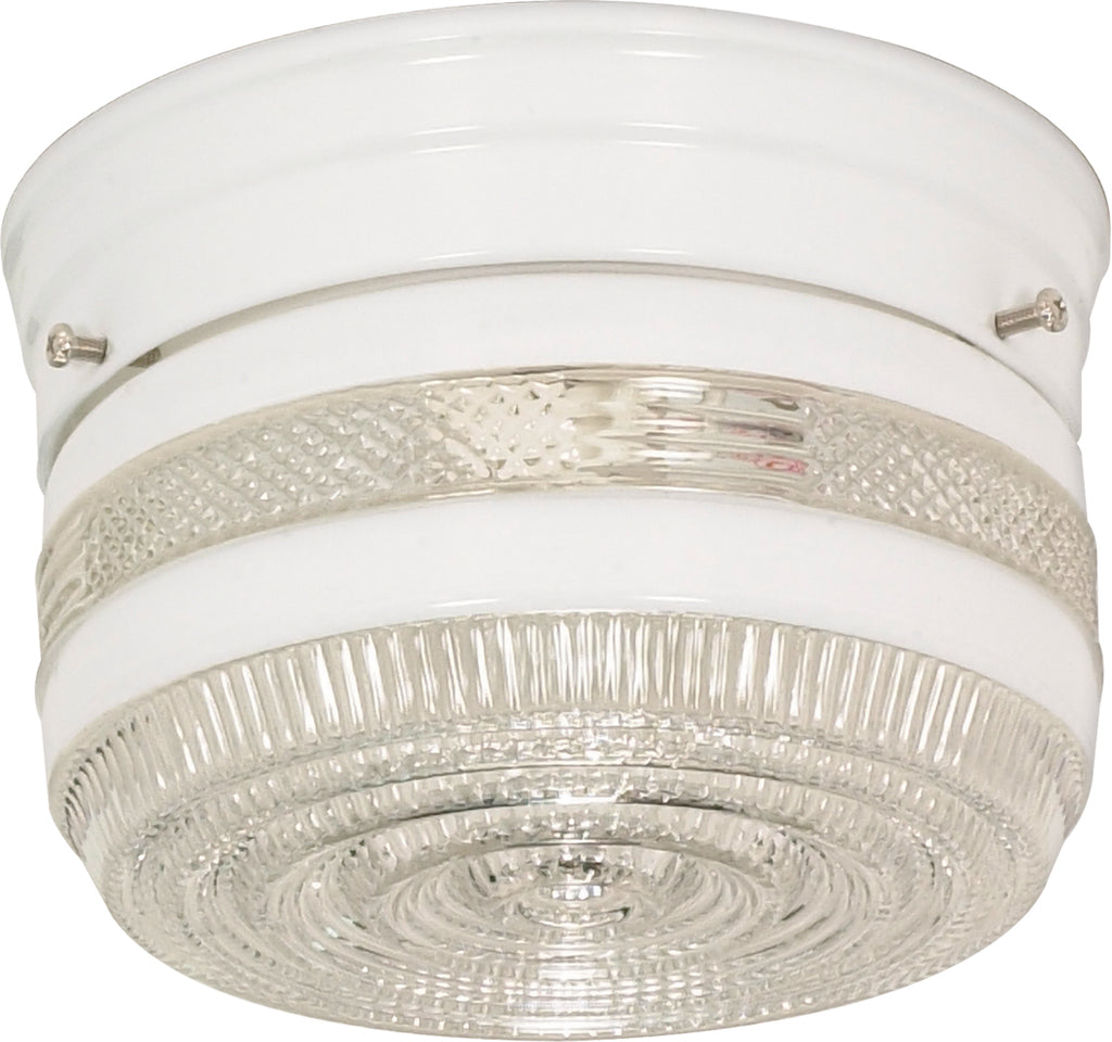 "1 Light - 6"" - Flush Mount - Small Crystal / White Drum"