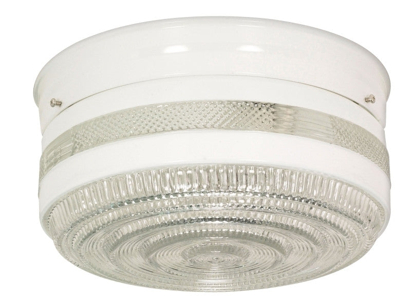 Nuvo 77-099 Two Lights White Large Drum Shade Flush Mount Ceiling Fixture