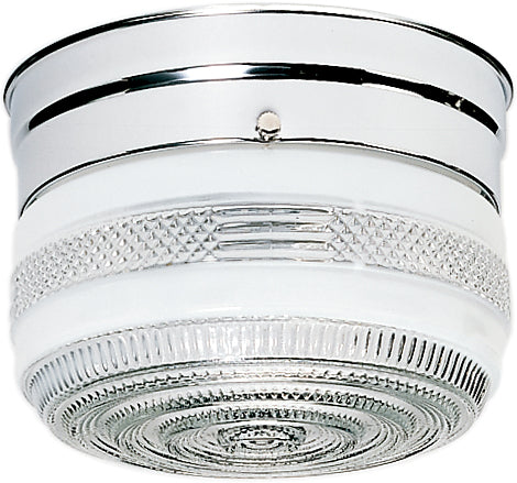 """Nuvo 1-Light 6"""" Ceiling Light Flush w/ Mount Small Crystal and White Drum"""
