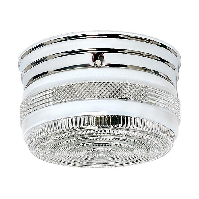 "2 Light - 8"" - Flush Mount - Medium Crystal / White Drum"