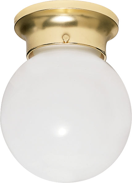 "Nuvo 1-Light 6"" Ceiling Light White Glass Ball w/ Polished Brass Finish"