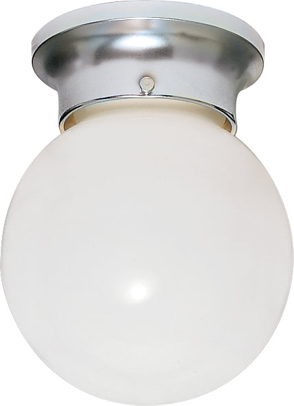 "Nuvo 1-Light 6"" Ceiling Light White Ball Glass w/ Polished Chrome Finish"