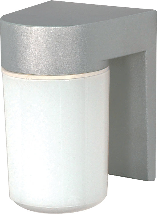 "1 Light - 8"" - Utility, Wall Mount - With White Glass Cylinder"