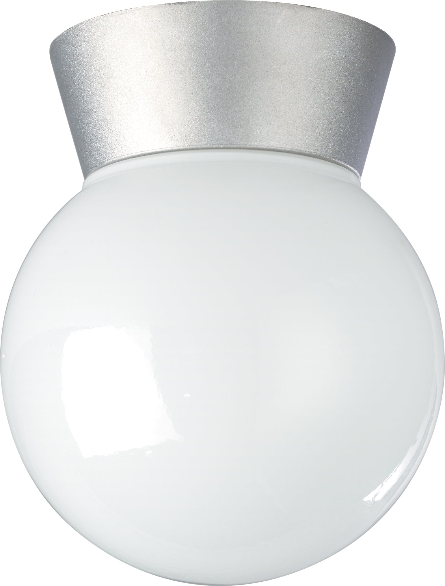 "Nuvo 1-Light 8"" Outdoor Ceiling Light w/ White Glass Globe in Satin Aluminum"