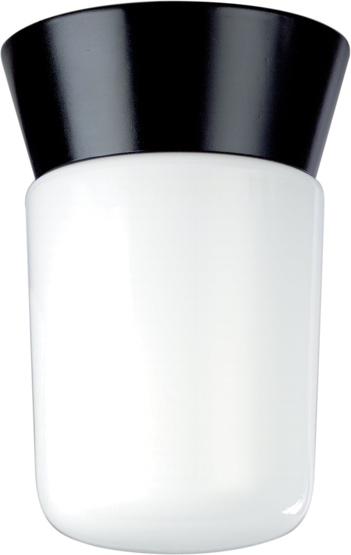"Nuvo 1-Light 8"" Outdoor Ceiling Light w/ White Glass Cylinder in Black Finish"