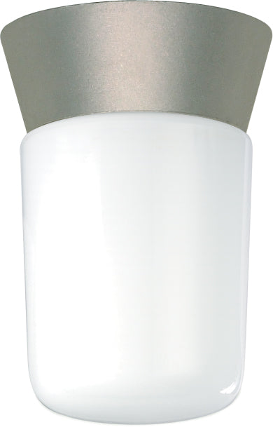 "1 Light - 8"" - Utility, Ceiling Mount - With White Glass Cylinder"