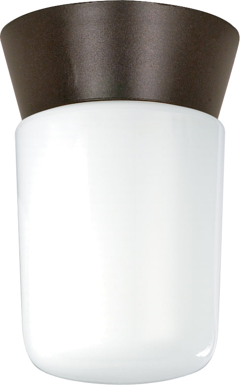 "Nuvo 1-Light 8"" Outdoor Ceiling Light w/White Glass Cylinder in Bronzotic Finish"