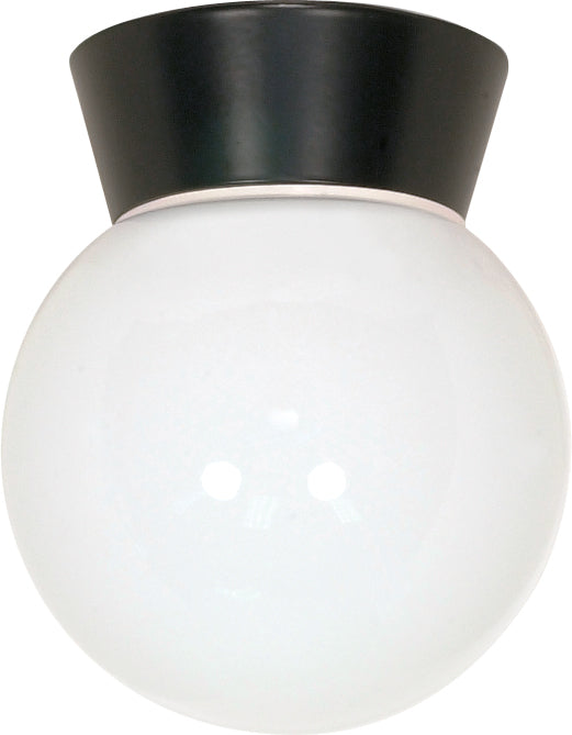 "Nuvo 1-Light 8"" Outdoor Ceiling Light w/ White Glass Globe in Black Finish"
