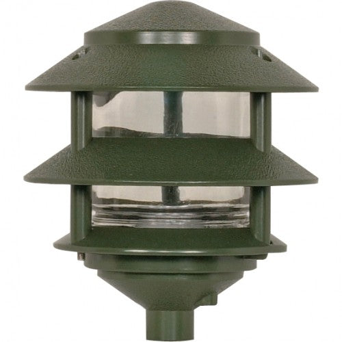Nuvo 3-Tier PathLight Landscape Light Fixtures Small Hood Green Finish