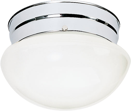 "Nuvo 1-Light 8"" Ceiling Light w/ Small White Mushroom Glass in Polished Chrome"