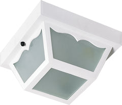 "Nuvo 1-Light 8"" Carport Outdoor Light w/ Acrylic Panels in White Finish"