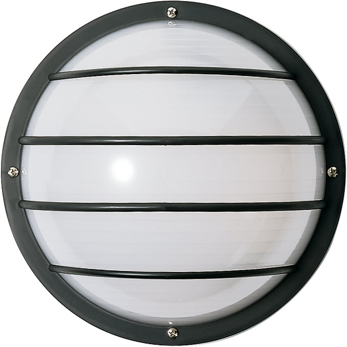 "Nuvo 2-Light CFL 10"" Round Cage Wall Fixture 9w Twin Tube INCL in Black Finish"
