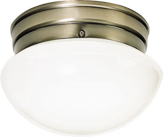 """Nuvo 1-Light 8"""" Ceiling Light w/ Small White Mushroom Glass in Antique Brass"""