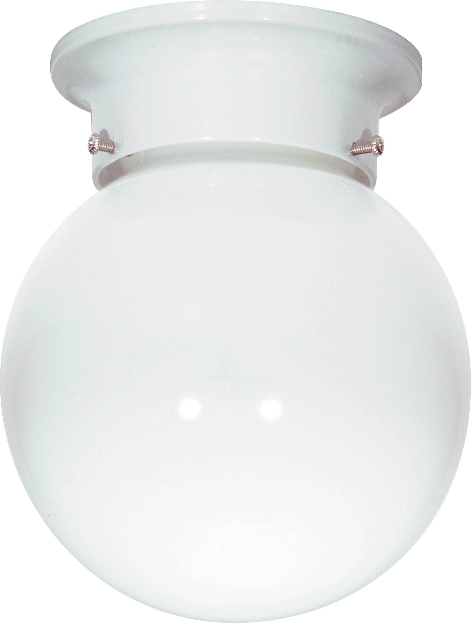 "Nuvo 1-Light 6"" Flush Mount Ceiling Fixture w/ White Ball Glass in White Finish"