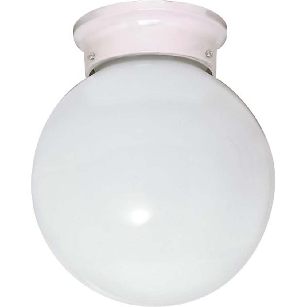 "Nuvo 1-Light 8"" Flush Mount Ceiling Fixture w/ White Ball Glass"