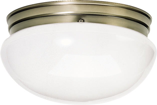 "Nuvo 2-Light 12"" Flush Mount Large White Mushroom Glass in Antique Brass Finish"