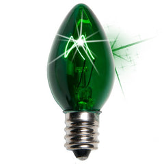 25 Bulbs - C7 Twinkle Triple Dipped Transparent Green, 7 Watt lamp
