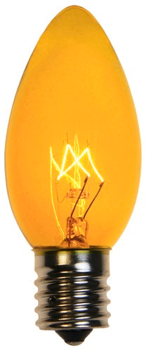 25 Bulbs - C9 Triple Dipped Transparent Yellow, 7 Watt lamp