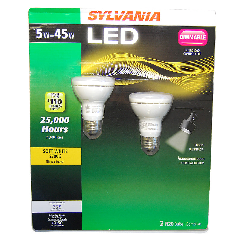 2Pk - Sylvania R20  5W LED - 45w equiv. Dimmable Soft White Flood bulb