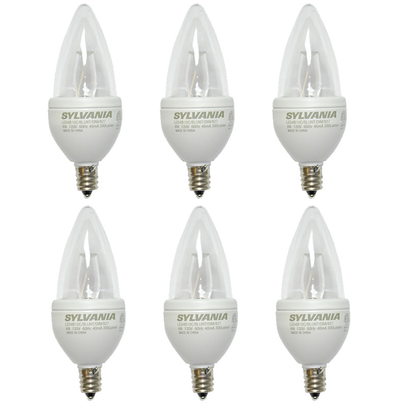 4w B10 Blunt Tip Dimmable LED - Sylvania Candelabra base 2700K