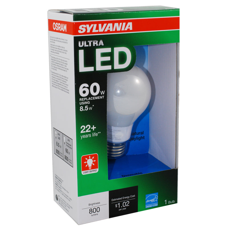 Sylvania 8.5W A19 LED Daylight 5000k Dimmable E26 Light Bulb - 60w equiv.