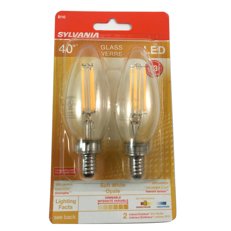 Sylvania 3.5w B10 LED Blunt Tip E12 Candelabra base 2700K Dimmable Light Bulb