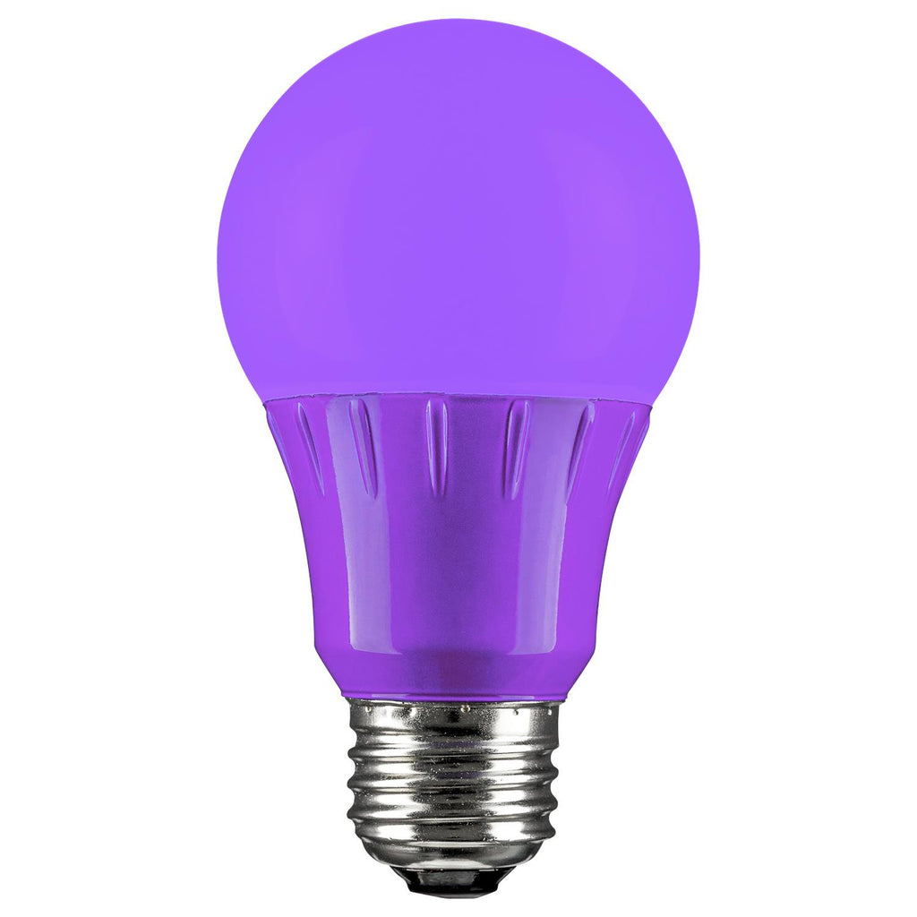 Sunlite 3w A19 LED E26 Medium Base Colored Series Purple Light Bulb
