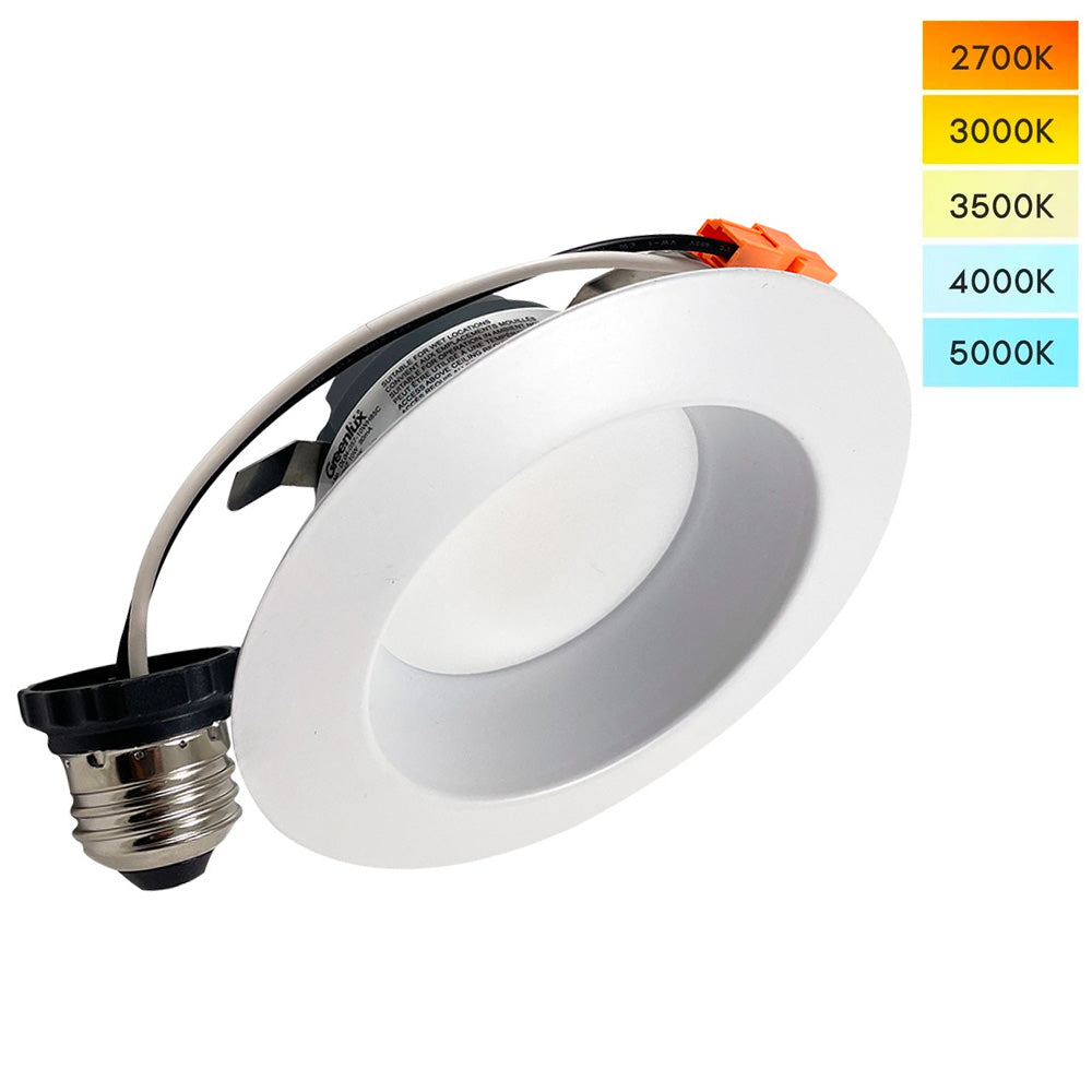 4in Round LED Downlight Selectable CCT 10w 650Lm Dimmable - 65w Replacement