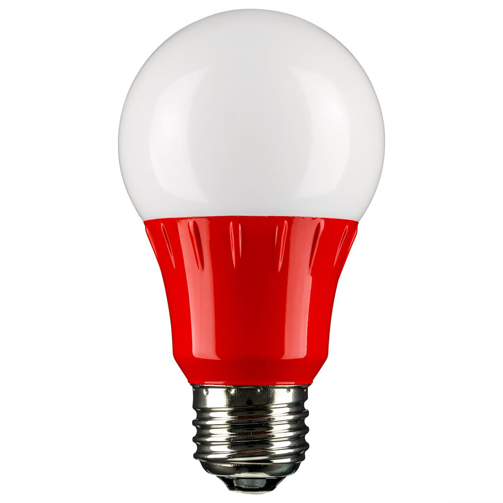 Sunlite 80148-SU  LED A19 Colored 3w Light Bulb Medium (E26) Base Red