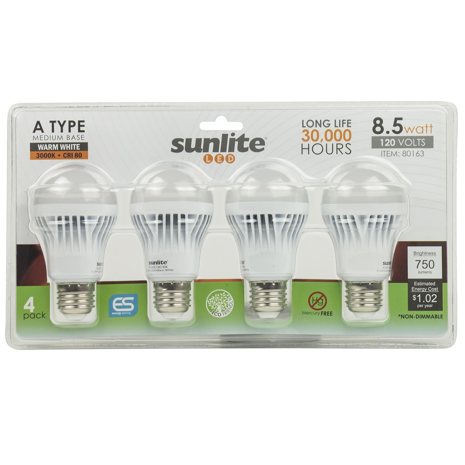 4Pk - SUNLITE 80163- SU LED A19 Household 9w Light Bulb Warm White 3000K