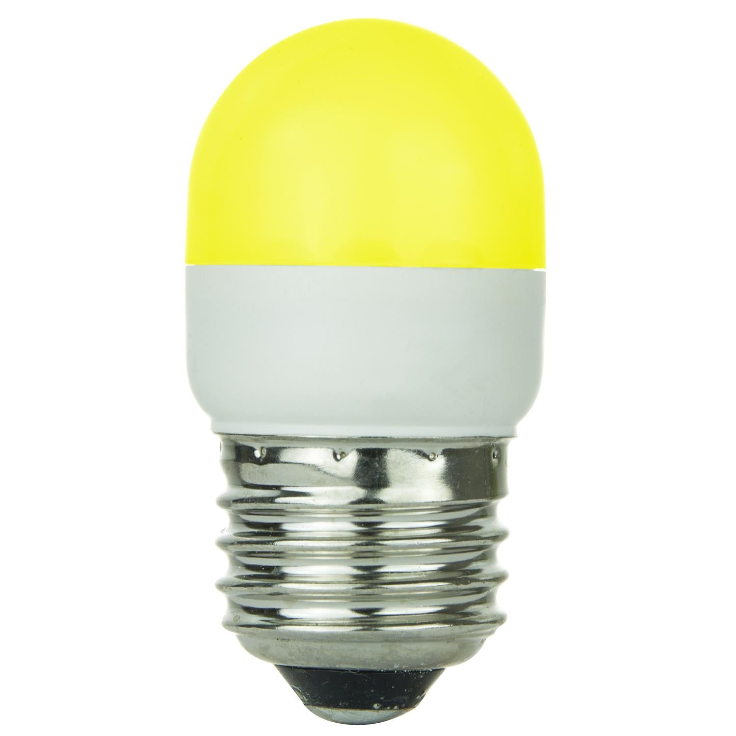 SUNLITE 0.5w Tubular T10 Yellow LED Medium Screw In Base Bulb
