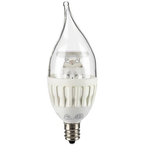 SUNLITE 4.5W Candelabra Dimmable LED E12 base Flame Warm White Light Bulb