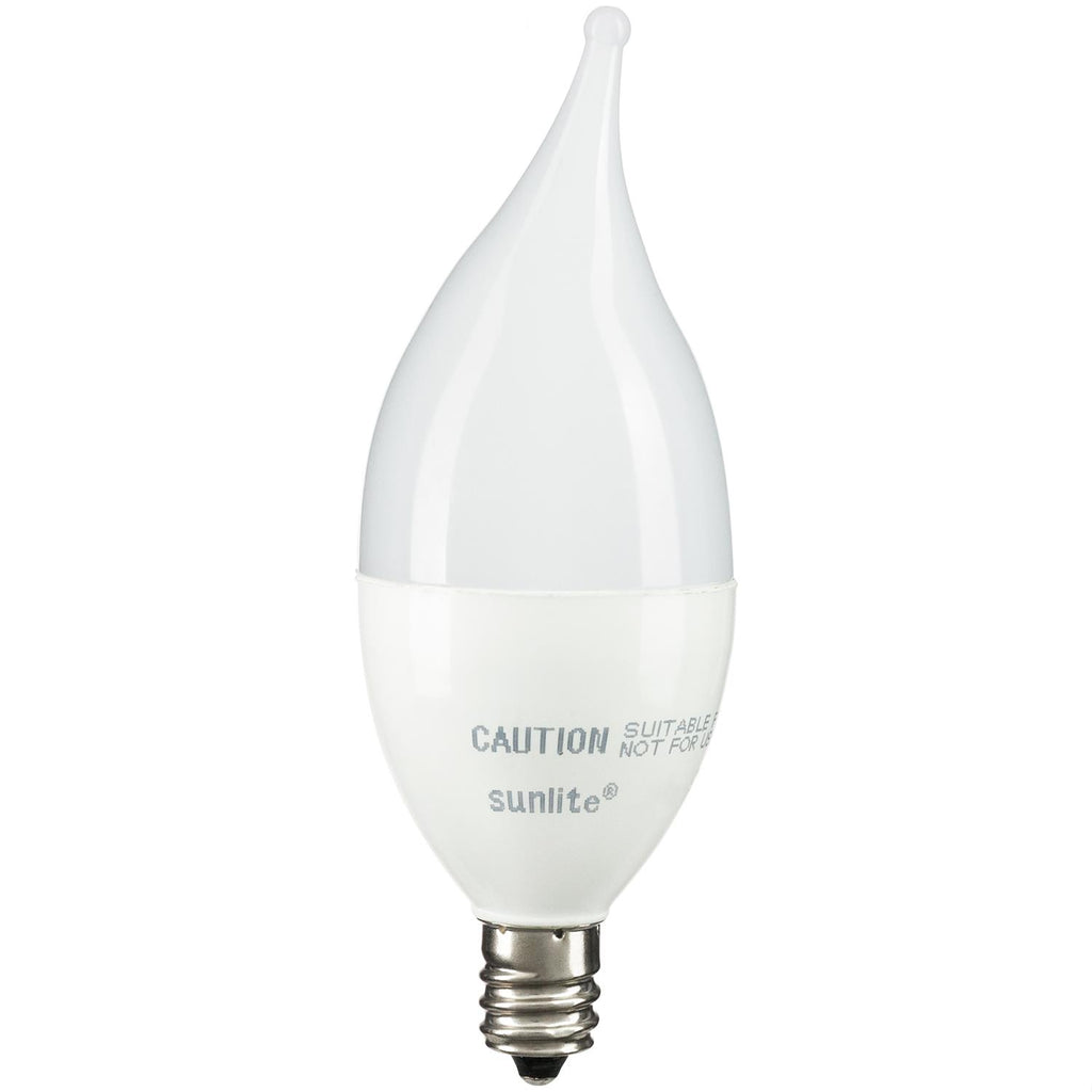 SUNLITE 80424-SU LED 7w Flame Tip Frosted Chandelier Light Bulb 2700K Warm White