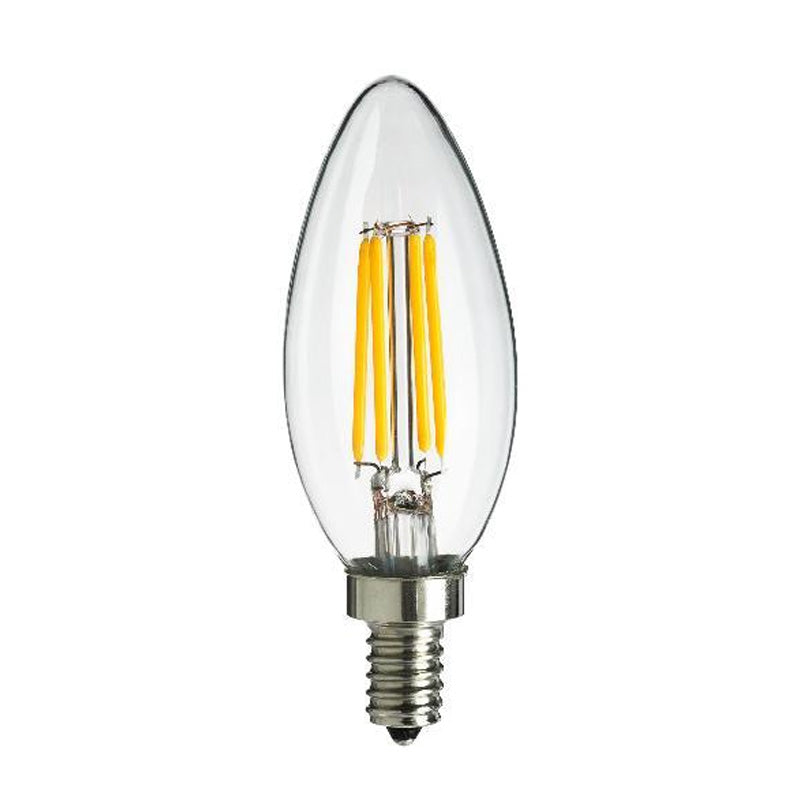 2 Pk - Sunlite Antique Filament LED 4 Watt 1800K E12 Chandelier Light Bulbs