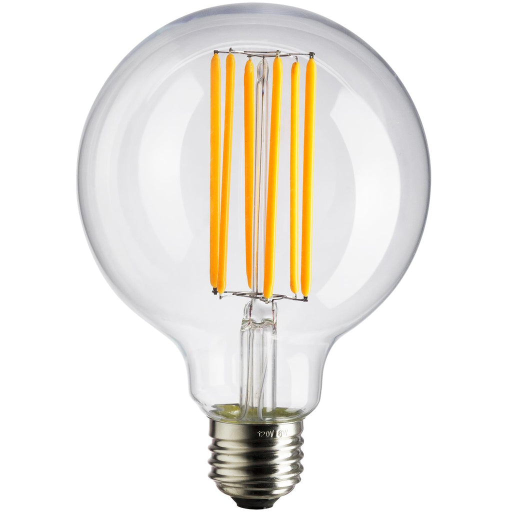 SUNLITE 80465-SU LED Vintage G25 Globe 6w Light Bulb 2200K Warm White