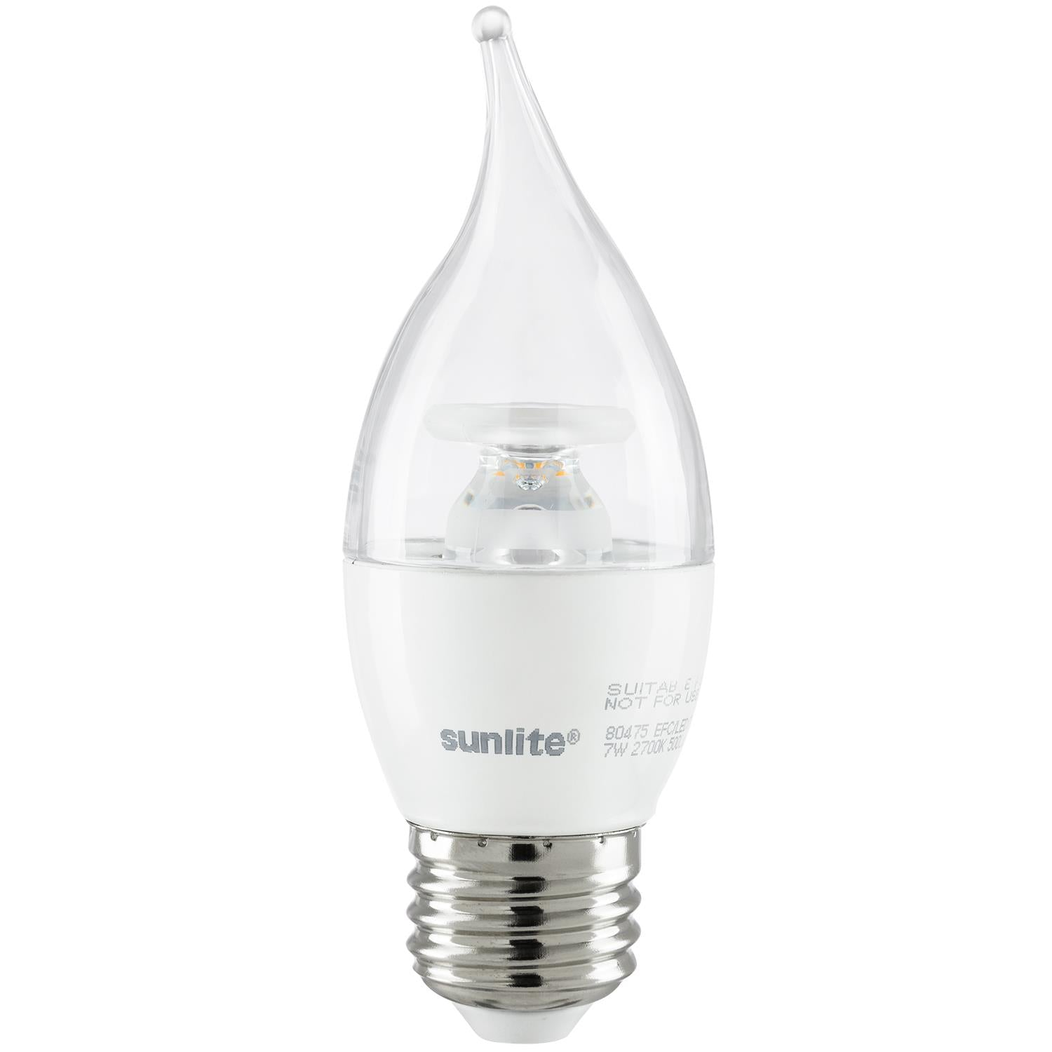 SUNLITE 80475-SU LED Flame Tip Chandelier 7w Light Bulb 2700K Warm White
