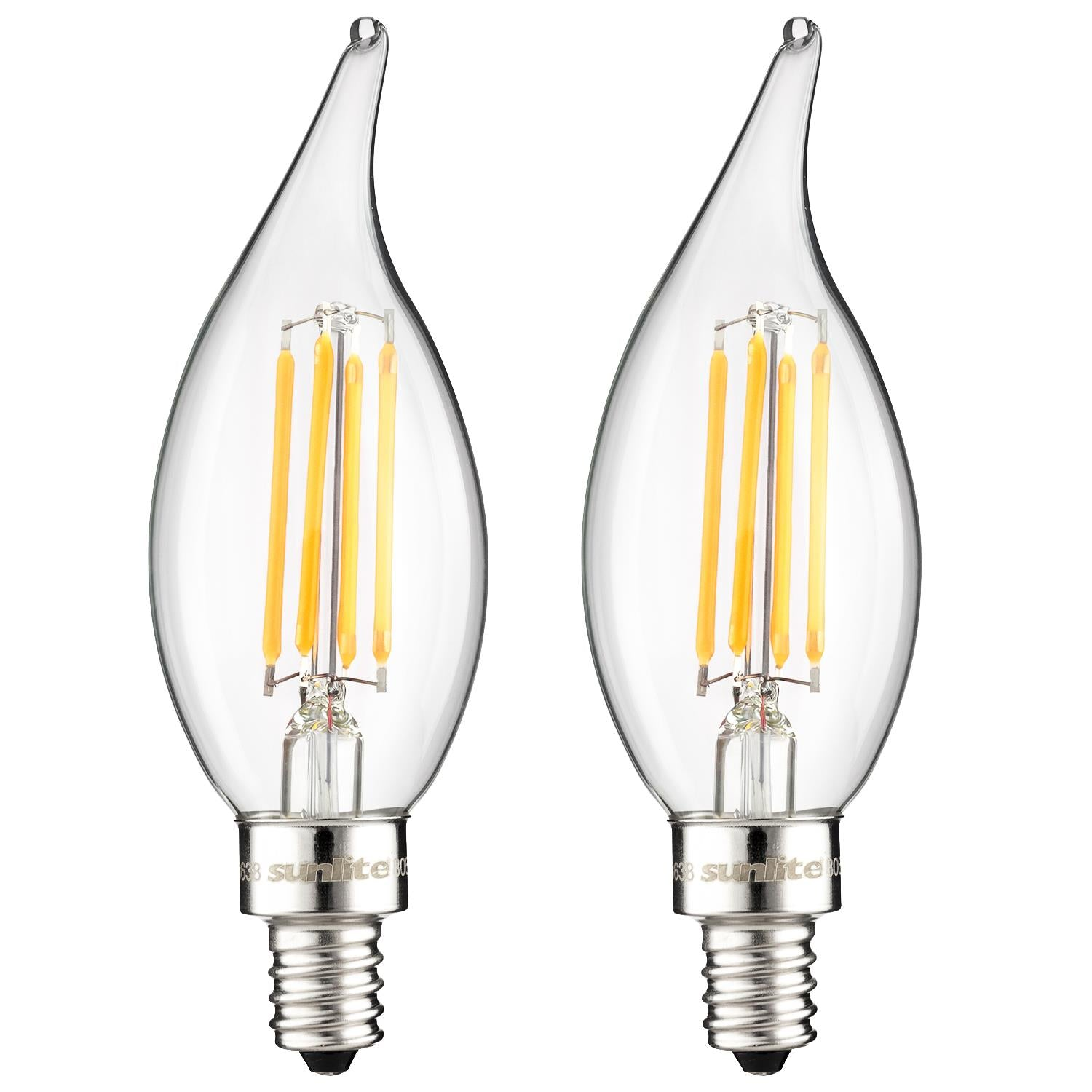 2Pk - SUNLITE LED Vintage Chandelier 4w Light Bulb 2700K Warm White