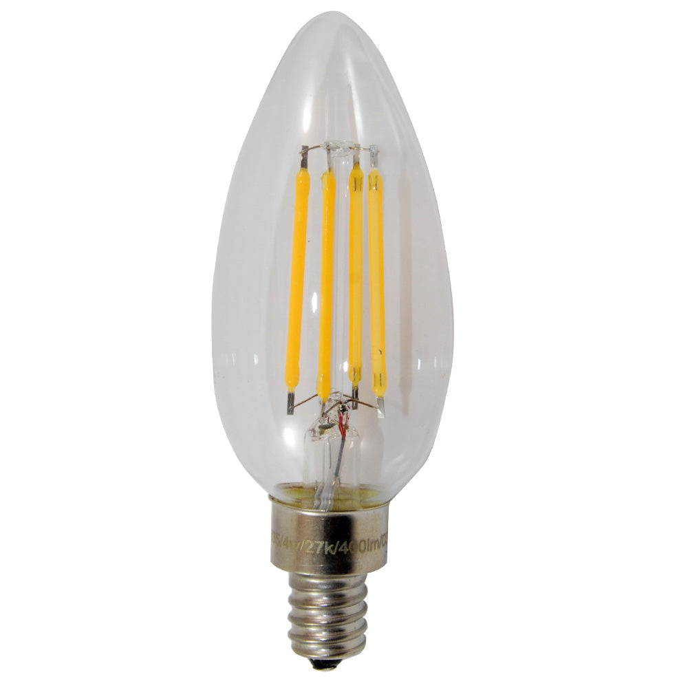 Sunlite 80635-SU Antique Filament LED 4W 2700K E12 Chandelier Light Bulb